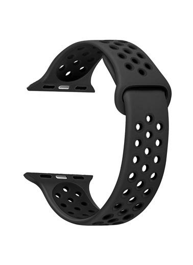 Jacobson Melefoni Apple Watch 42-44 mm Spor Delikli Kordon Silikon Kayış Siyah Siyah
